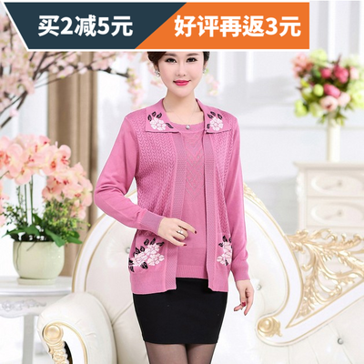 2016 autumn and winter new middle-aged women's fake two-piece sweater mother loaded knit cardigan large size short coat
