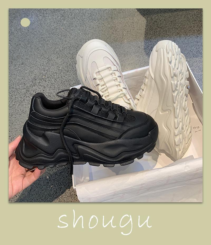 墨染·網紅潮牌小黑鞋老爹鞋ins潮女2121秋季新款顯腳小厚底純皮運動鞋