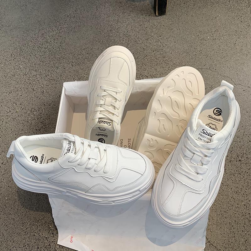 墨染·網紅小白鞋板鞋女正韓ulzzang洋氣香港厚底真皮休閒學生松糕鞋潮