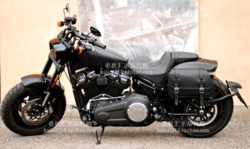 Sản phẩm mới được nhập khẩu từ Ý 18 năm Harley Fatty Black Leather Personal Hand Side Bag Tail Bag Tool Bag - Xe gắn máy phía sau hộp