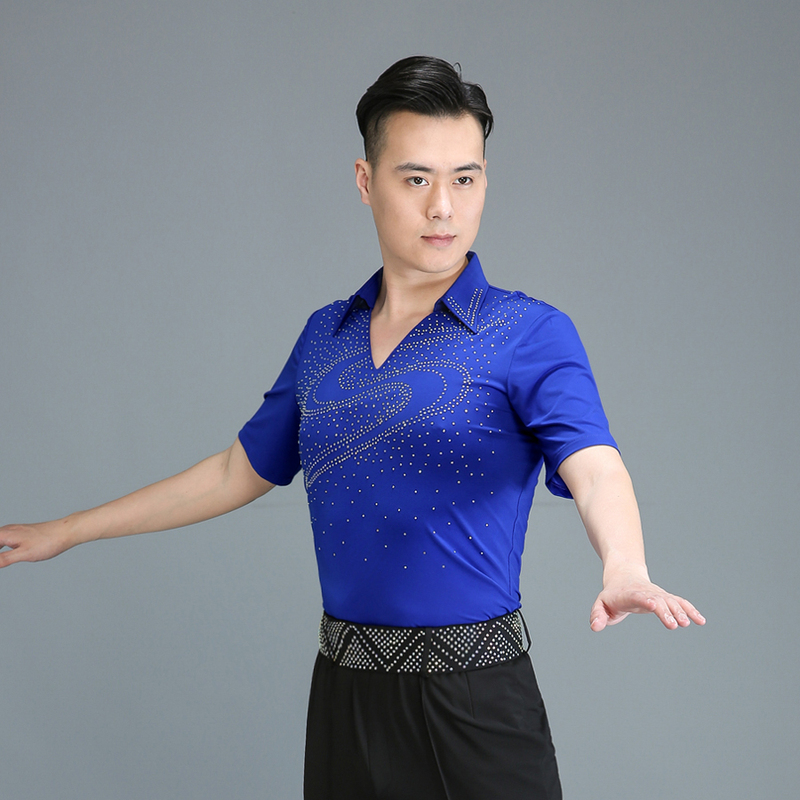 ballroom men's top royal blue latin dance shirts stage performance chacha rumba salsa jive tango waltz dance shirts for male