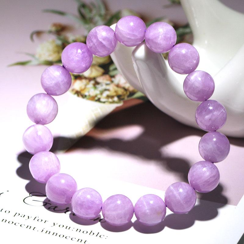 5A猫眼紫锂辉手链女 天然紫锂辉石孔赛石手串 薰衣草粉紫色水晶