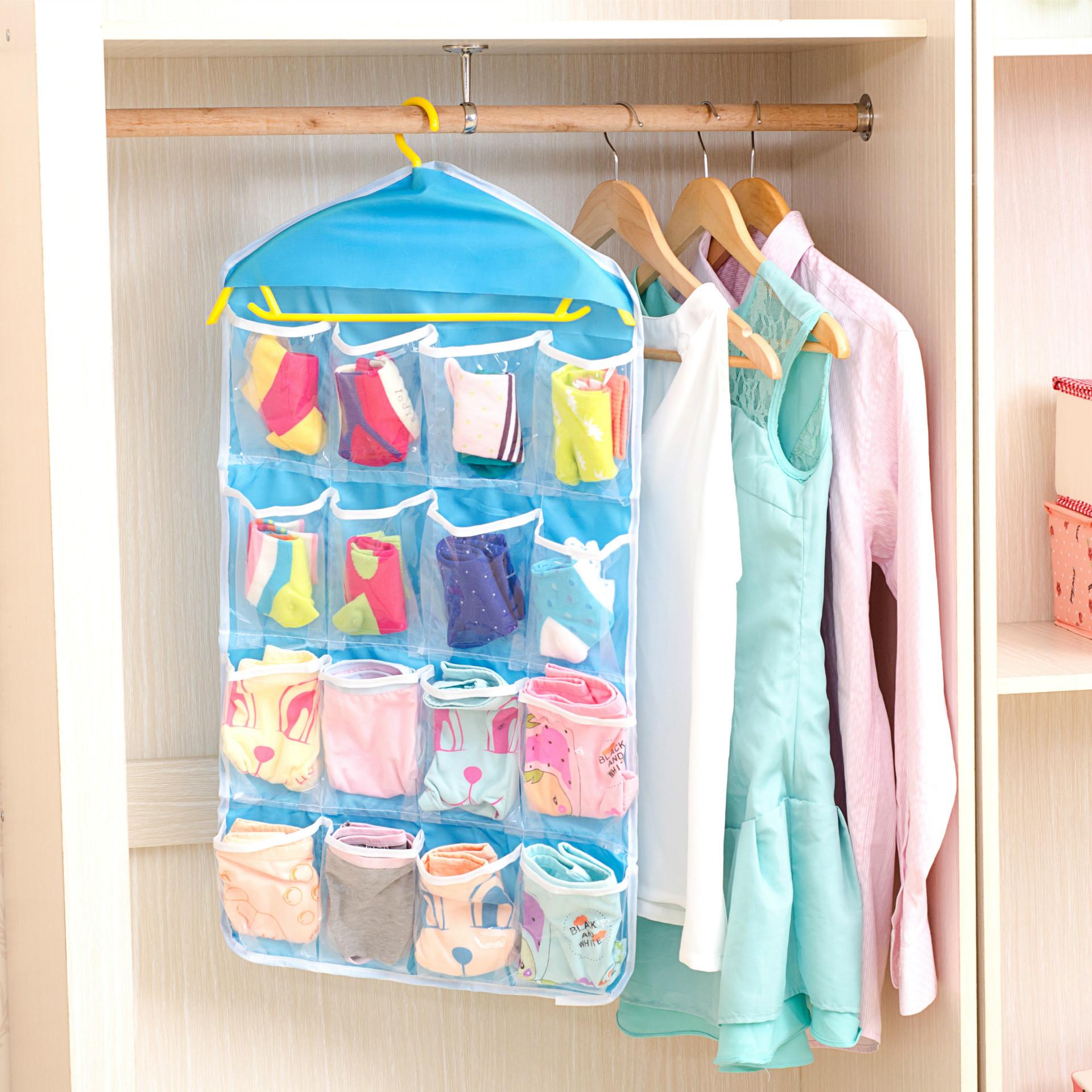 Clothing Socks Underwear Storage Bag 16 Grid Wardrobe Small Objects Storage  Wall Door Pocket Classification Finishing