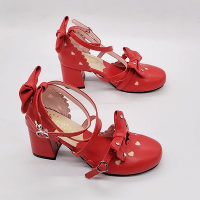 taobao agent Antaina classic lolita custom hollow shoes princess shoes love rhinestones with sandals 9977