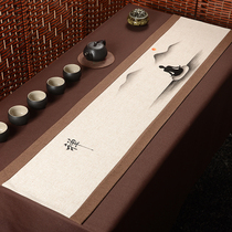 Hand-painted retro table flag Chinese Zen Cotton hemp fabric Chinese wind tea mat length