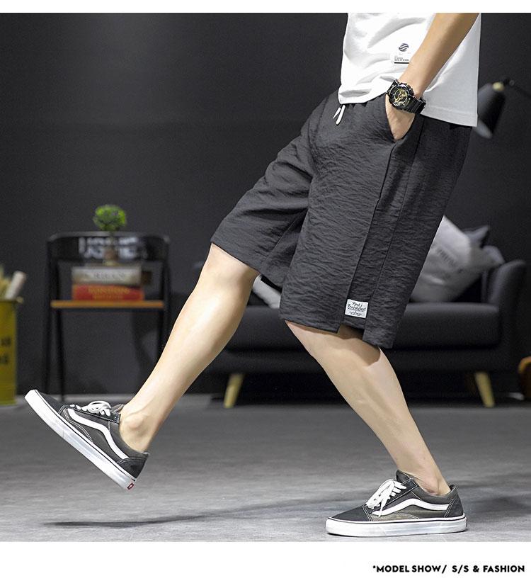 2019夏季新款日系大码原创亚麻短裤休闲裤宽松男五分裤K361-P30