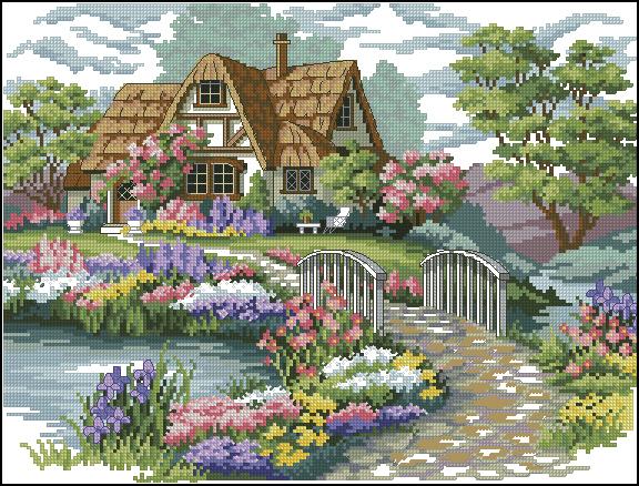 Вышивка крестом вышивать инжир источник файл очаровательный городок дом с полосками количество