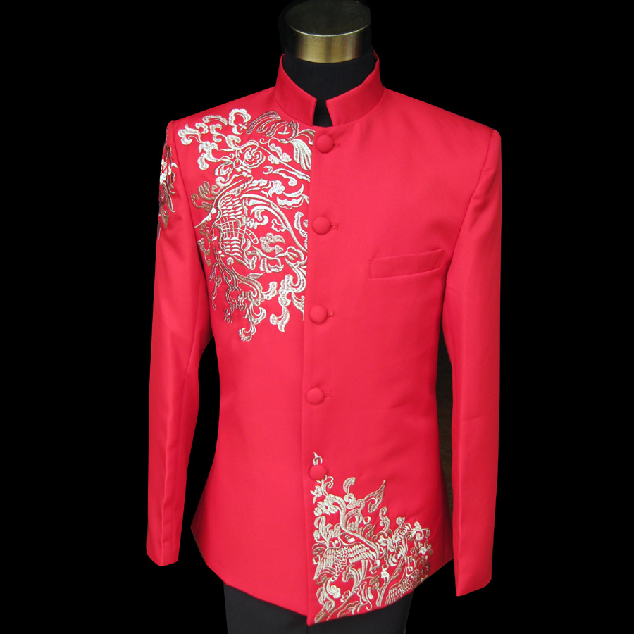 Due to the truth of the new red collar xiangyun embroidery Chinese wedding  dress male Zhongshan 28dee8eb8