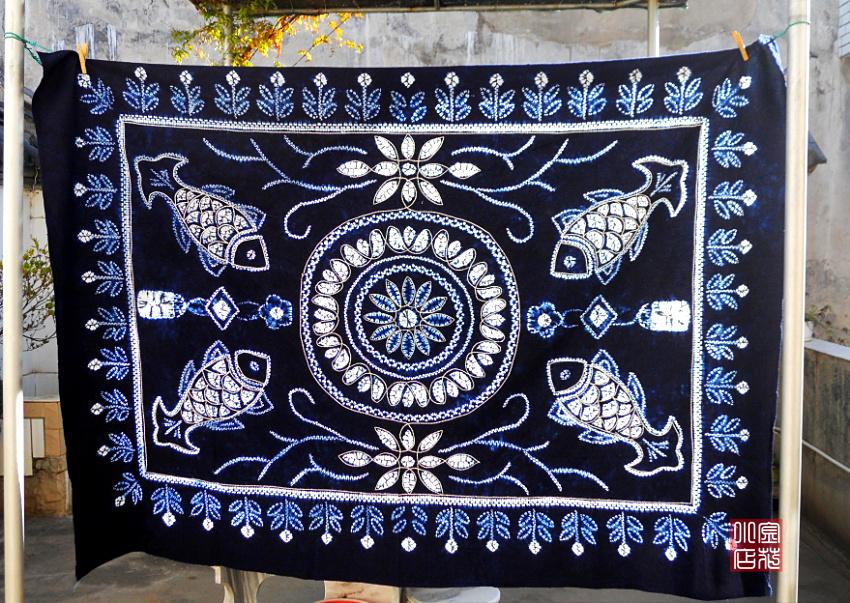 Расписанные изделия Флокс юньнань Бай национальность в дали ручной работы галстук-окрашенные скатерти рыба 2м*1.5 модели МФ
