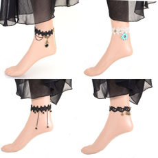 Fashion Europe and the United States Gothic Palace style retro peach heart women's lace tassel anklet foot ring free post