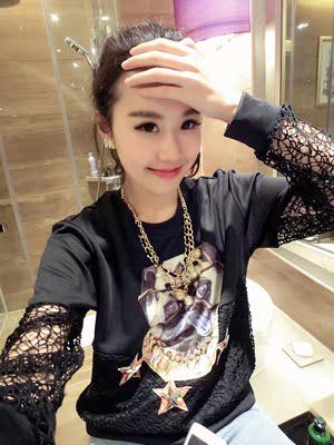 Miss JTO 2014春装新款韩版明星柳钉霸气狗头蕾丝拼接T恤18#31809