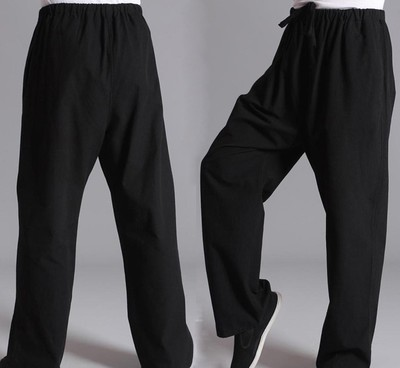 Chinese pure cotton denim men's Tang suit trousers, leisure sports trousers, Taiji morning training suit and Hanfu trousers