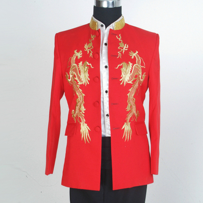 Red Standing collar Embroidered dragon tunic suit stage costume suit male singer host chorus costume