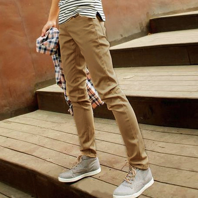 Men's spring and autumn with new casual pants cotton straight jeans autumn and winter Korean version of men's trousers Slim pants tide