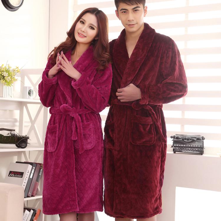 秋冬珊瑚绒睡衣男加厚保暖系带 家居服浴袍男士长袖法兰绒睡袍