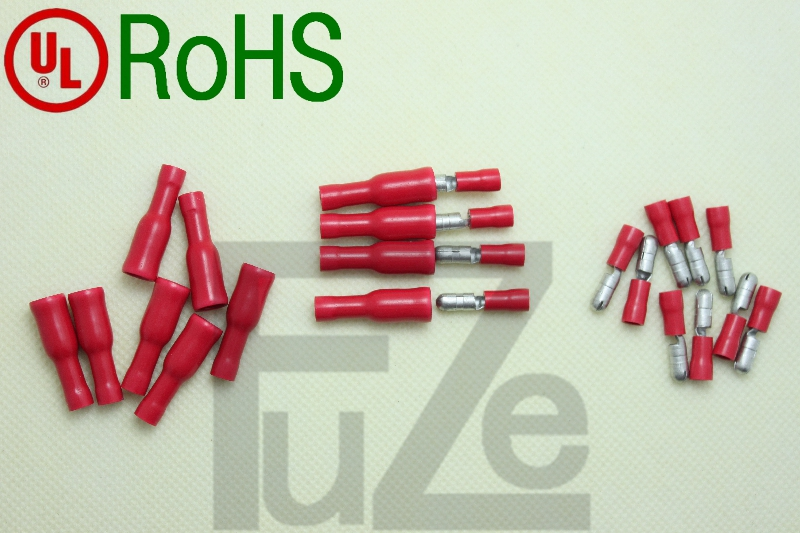 源利头公头F1.25-4A 红色护套1.5平方 100只圆形插头MPD1-156