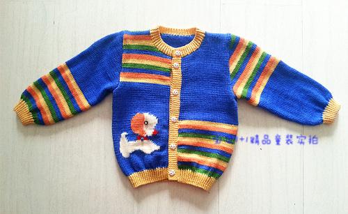 纯手工秋冬毛衣裤纯棉线蓝色宝宝连体裤男女款开衫针织衫