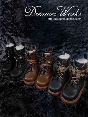 taobao agent SD/BJD 3 points 4 points doll shoes, rivet double buckle lace-up ankle boots 1/4, 1/3, uncle   three colors