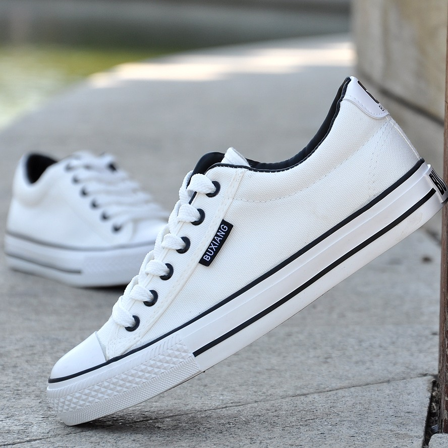 春款板鞋步祥休闲鞋帆布黑白平跟纯色鞋情侣低帮潮流小白鞋男款