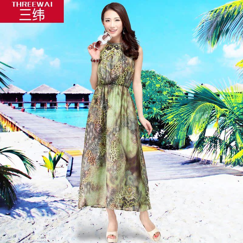 雪纺裙豹纹燕尾裙不规则长裙 连衣裙度假沙滩裙 吊带裙礼服背心裙