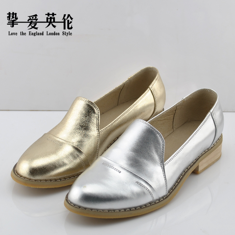 欧美款真皮平底-厚底休闲鞋镂空系带小皮鞋潮银色尖头单鞋女春夏