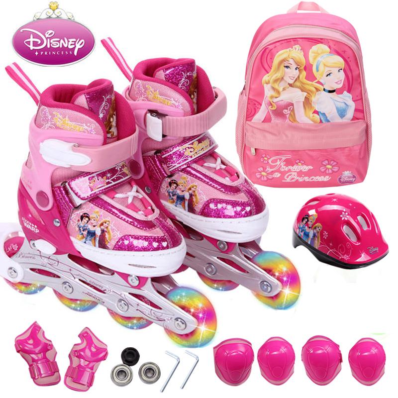 正品disney迪士尼溜冰鞋儿童全套装轮滑鞋旱冰滑冰鞋男女可调闪光