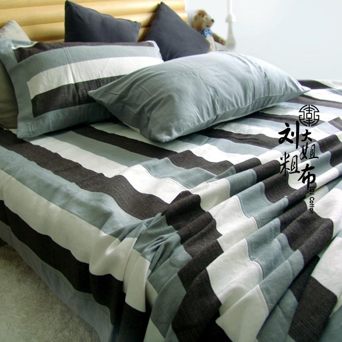 [Vải thô của chị Liu] Giặt mực Su Jian ~ vải cổ cao cấp vải thô cũ ba mảnh đặt mới đề nghị - Thảm mùa hè
