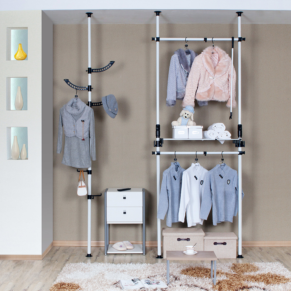 Double Hanging Wardrobe Simple Clothes Storage Cabinet Creative Top  Portable Convenient Locker Easy Hanging Wardrobe