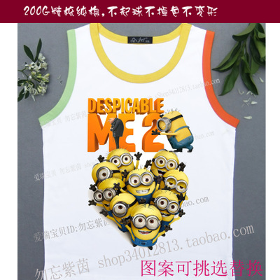 Group Order Despicable Me Daddy men and women children's vest sleeves T-shirt Summer children's color vest small yellow people