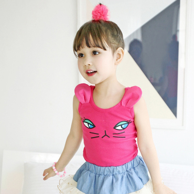 Special Korean children's clothing girls new summer Korean cat cartoon wild vest T children's braces