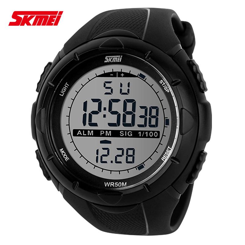 时刻美正品时尚男士手表LED防水电子表双显多功能户外足球运动表