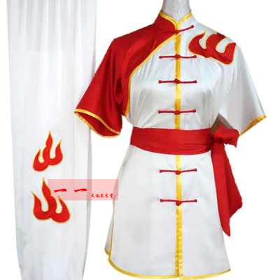 Martial Arts Clothes  Kungfu clothes High-grade short-sleeved martial arts costume Wushu performance clothes embroidered flame men and women Tai Chi clothes competition clothes LONG-FIST training clothes