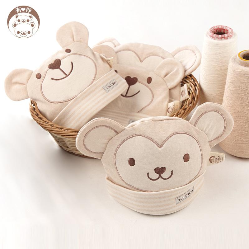 南极人婴儿彩棉帽子夏0-3个月新生儿帽子男女宝宝胎帽套头帽秋冬