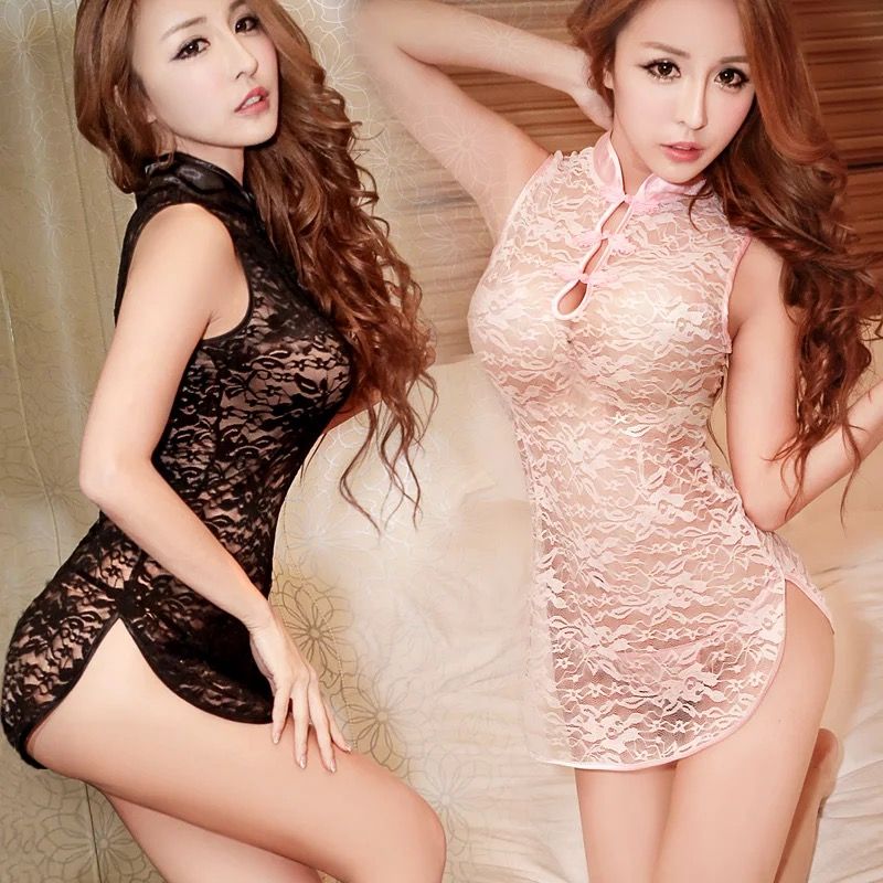 Sexy chinese tradition women mini cheongsam dress qipao for evening party black