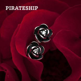 海盗船银饰925银玫瑰花耳钉女气质韩国个性大气时尚简约耳饰耳环