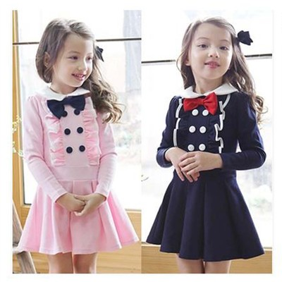 Girls spring and autumn new dress long-sleeved children's wear bow tie doll collar college wind Korean children's skirt