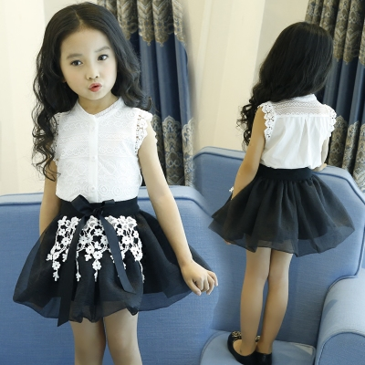 Girls short sleeve suit summer 2017 new fashion children's clothing 5 girls 6 years old baby shirt skirt two sets