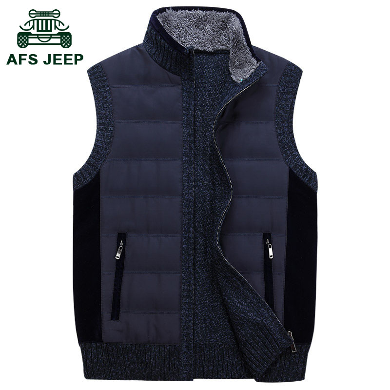 AFS JEEP毛衣男外套加绒加厚针织衫战地吉普男士套头线衣高领毛衫
