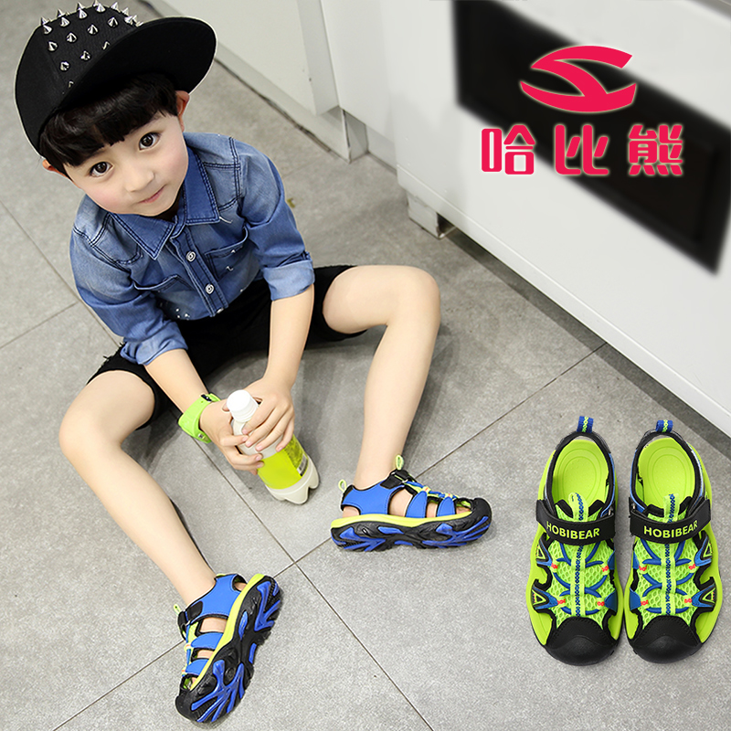 Boys sandals 2018 new children's Korean version of the big children summer children's children's Baotou baby shoes beach shoes