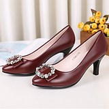 2021 Spring and Autumn New Women's Leather Shoes High Heel Shoes Sentimentation with the Leather Hundreds of Fashion Mother Shoes Wine Red