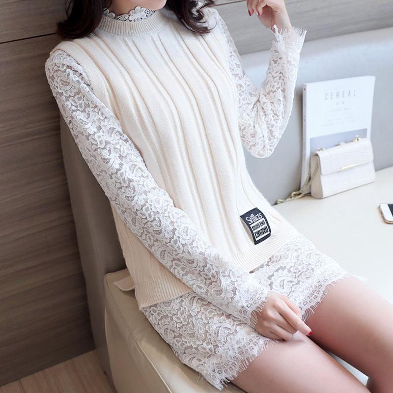 夯叶2017春秋新款女装韩版打底蕾丝裙修身显瘦马甲两件套连衣裙潮