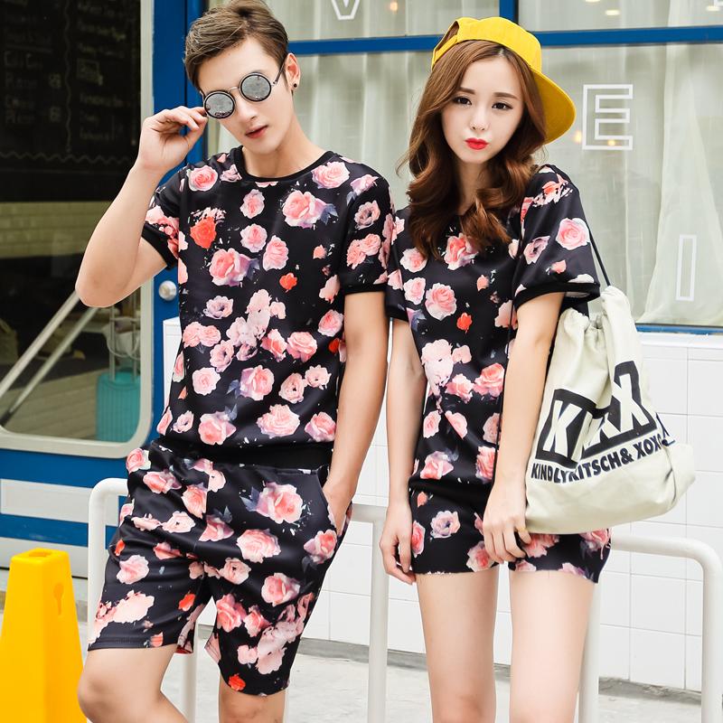 韩版情侣套装夏装 2015潮韩版印花卡通短袖t恤新品宽松度假套装
