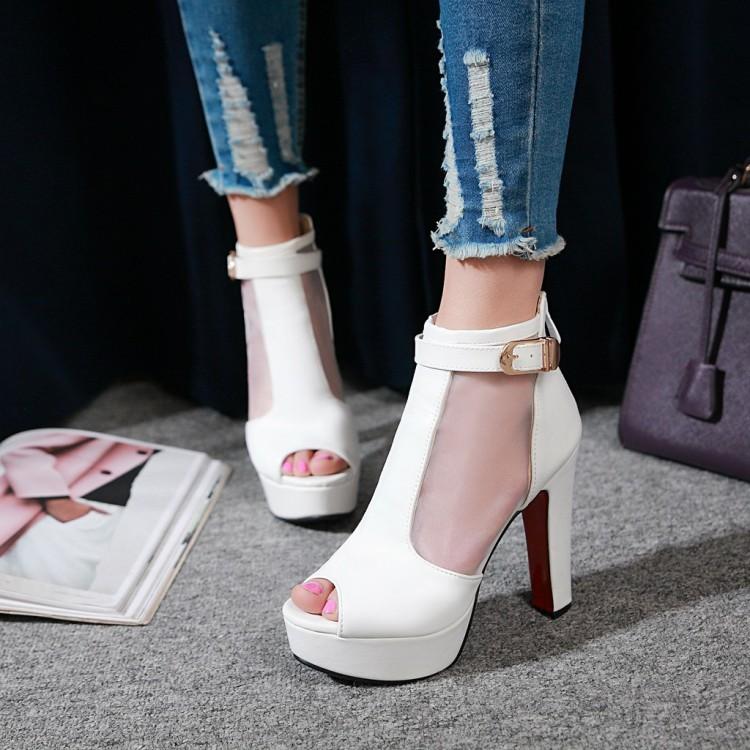 白色粉红色女鞋鱼嘴鞋高跟鞋高帮网沙大码凉鞋小码鞋 32 33 42 JX
