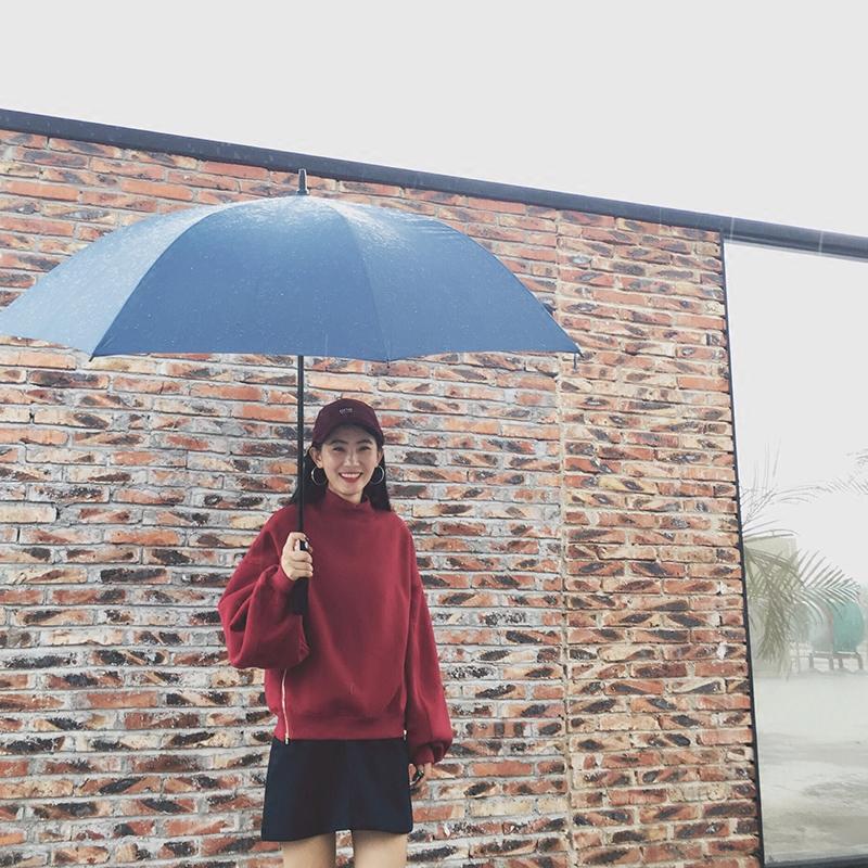2016秋冬新款韩版拼接卫衣 加绒加厚保暖圆领套头长袖学生上衣女
