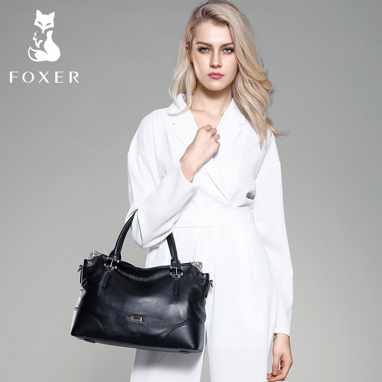 Gold Fox leather women's Pack spring and summer new fashion head layer leather tote bag women's single shoulder bag large bag