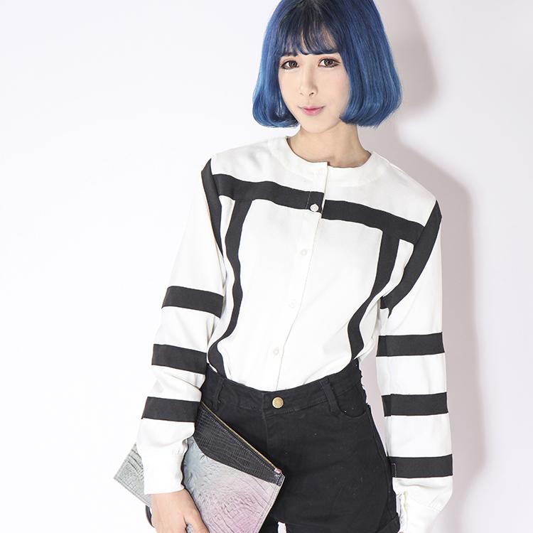 无袖宽袖拼接设计门襟暗扣翻领白色雪纺女衬衫 haoduoyi包邮