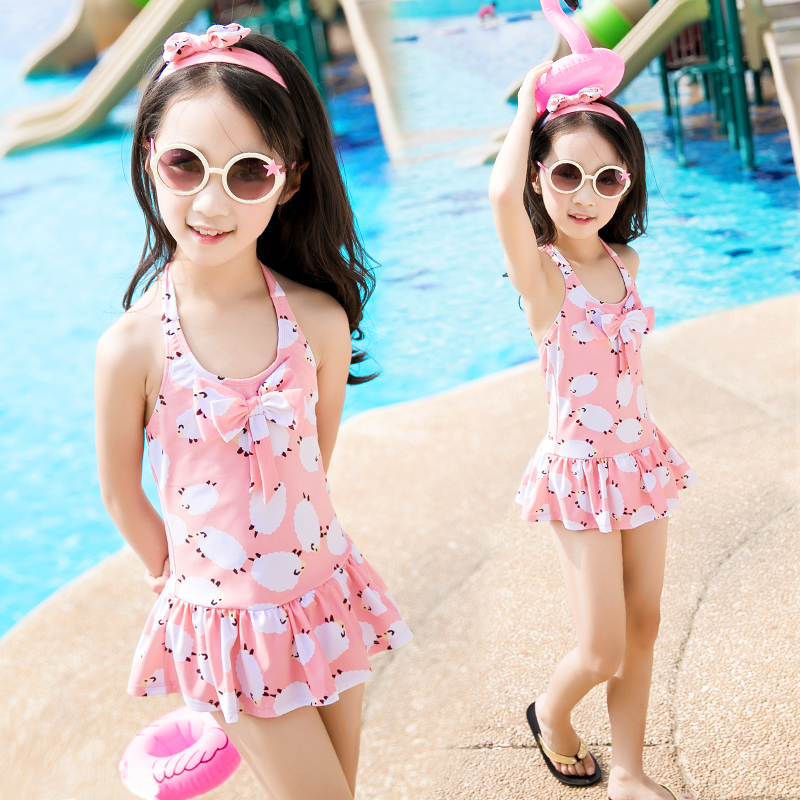 3bd8131345bd3 Children's Swimsuit Girls One-Piece Skirt Swimsuit Korea's Little Middle  School Girls Cute Princess Hot Spring Swimsuit