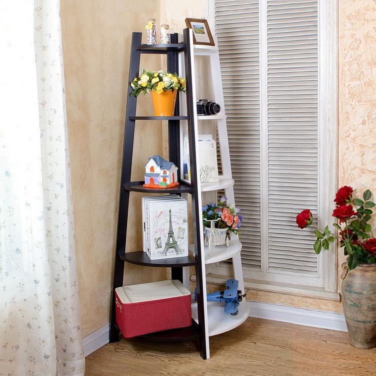 IKEA Bedroom Corner Racks Triangular Flower Shelf Corner Creative Ladder  Shelf Living Room White Floor Shelf