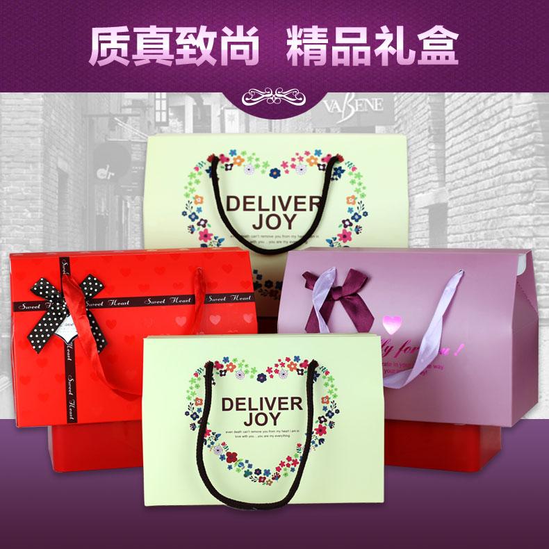 金薇kieve粉红色方形手提袋纸袋子枕头盒礼盒套装20套包邮