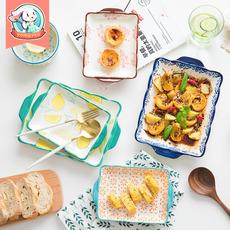 盘子菜盘家用ins网红餐具西餐盘陶瓷餐盘个性烤盘可爱创意早餐盘